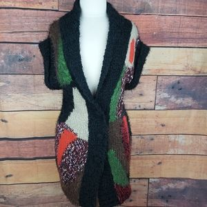 Fuzzy knit long cardigan tunic short sleeves